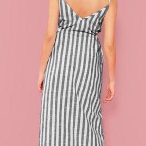 a036fe47697f SHEIN Dresses   Button Through Self Belt Stripe Cami Dress   Poshmark